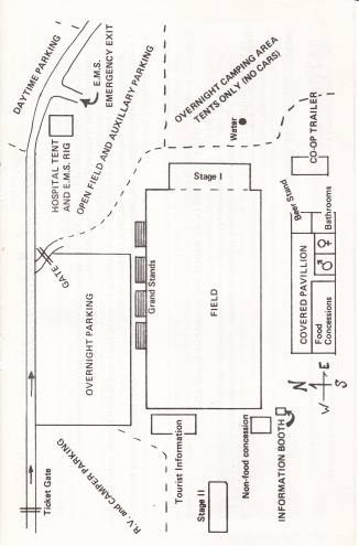 A layout map of the first Hiawatha Music Festival at then Champion Horse Pulling Grounds.