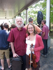 Jamie Kitchel, HMC Youth/First Timer Scholarship recipient (2012), with her advanced Fiddle Instructor James Bryan.