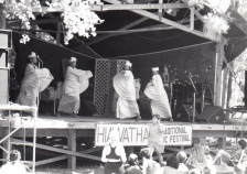 Pashami dancers dance on stage during the 1994 festival.