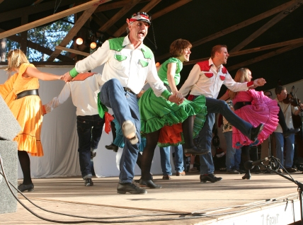 Green Grass Cloggers energize the crowd at the 2010 festival.